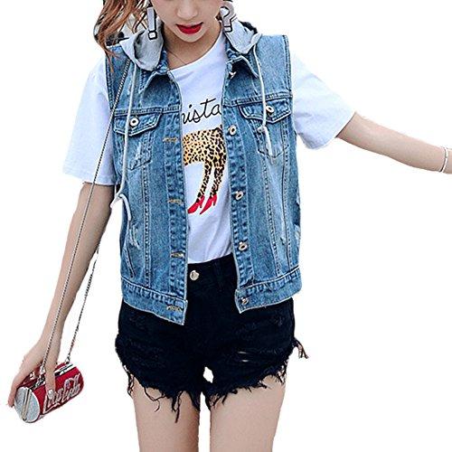 Classic Pink Damen Loch BF Stil Ausfransen Weste Jacke Ärmellos Beiläufige Jeansweste Mit Kapuze Blau 3XL