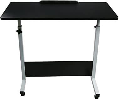 Ship from USA - HSada Folding Computer Desk - Height-Adjustable from 55cm to 73cm Laptop Stand Desk - Rotated 180 Degrees Computer Desk Cart - Saving Space - 80cm 40cm(Black)
