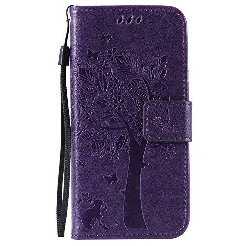 iPhone6 ケース iPhone6s カバー アイフォン6カバー【Coosmart】かわいい押し木柄 手作り 高級PU レザーケース 手帳型 スタンド機能 カードポッケト ストラップ付き オシャレ 木 蝶 猫 ボタン マグネット式 財布型 ケース カバ