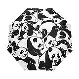 Panda - Paraguas negro y blanco para mujer y hombre, cierre automático, tamaño pequeño, plegable, 3 unidades