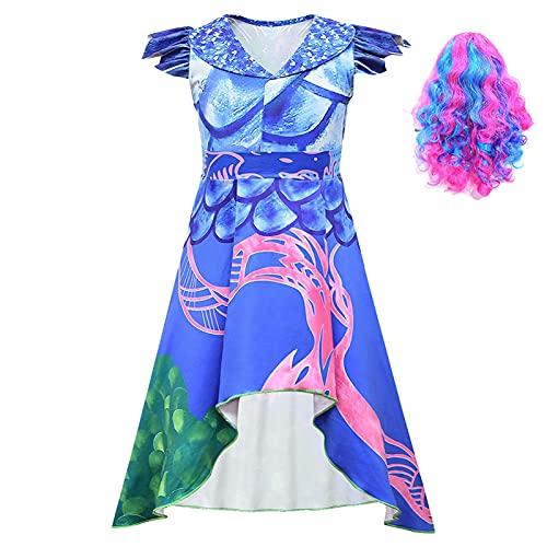 ACCLD Disfraz de Cosplay para niñas descendientes 3 Vestido púrpura Disfraz de Cosplay para niños Estampado en 3D Disfraces de Halloween para niñas Fiesta de Carnaval para niñas,A,3XL