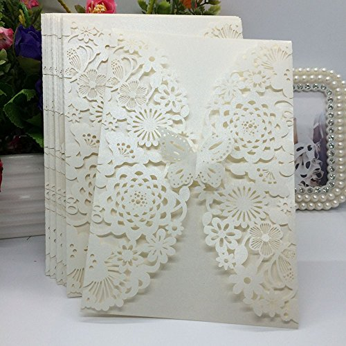 20Pcs/pack Carved Flower Butterfly Pattern Wedding Invitation Card Exquisite Hollow Out Romantic Cards Wedding Favor Party Supplies Decoration (Beige)