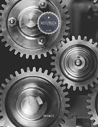 """ZMUDACE Notizbuch Punktraster: in DIN A4 Softcover   """"ZP120 Maschinenbau Zahnräder""""  156 leere gepunktete Seiten mit persönlichem Register + ... zum Selbstgestalten (German Edition)"""