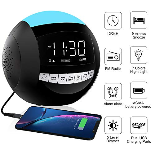 Home Digital FM Alarm Clock Radio,7 Colors Night Light,LED Display,2 USB Phone Chargers,12/24H,DST,5 Range Dimmer,Big Snooze,Plug in Battery Backup Powered for Kids Heavy Sleeper Elderly Bedroom