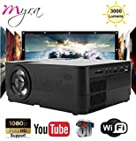 Myra Q3 Smart WiFi/Miracast with 3000lumens 1280 * 720P LED Projector Portable, Supports