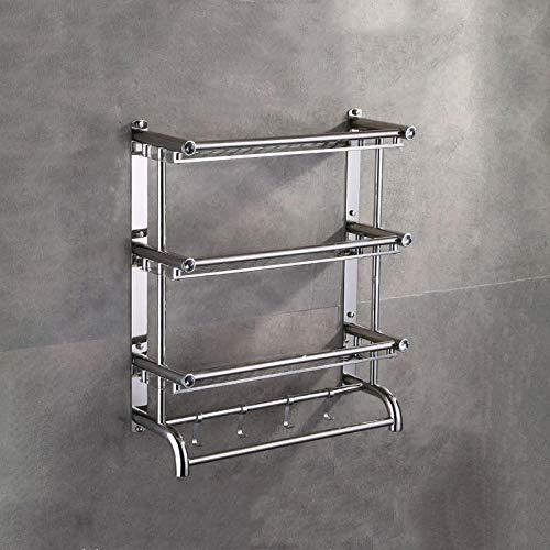 Toallero de baño montado en la pared, barra de toalla múltiple con estante, estante de toalla cepillado de acero inoxidable, para baño, cocina y hotel-Tres capas-80 CM