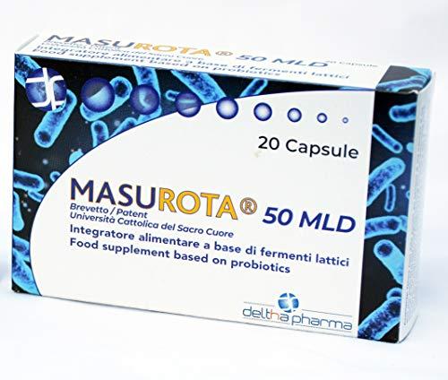 Masurota 50 MLD, Integratore alimentare di fermenti lattici e inulina, per favorire l'equilibrio della flora intestinale 50 miliardi di cellule vive, Brevetto dell'Università del Sacro Cuore, 20 cps