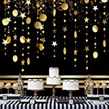 4Pcs Gold Party Decoration Circle Dot Star Garland Banner Bright Paper Streamer Hanging Decorations Glitter Star Bunting Banner Backdrop for Engagement Wedding Baby Shower Christmas Birthday Kid Room