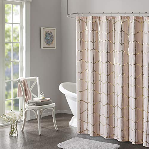 "Intelligent Design Raina Shower Curtain Printed Geometric Metallic Machine Washable Modern Home Bathroom Decorations, 72"" x 72"", Blush"