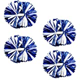 Supkiir 4Pcs Blue White Cheerleading Pom Poms for Cheerleader Costume Women, 2 Pair Cheer Pompoms for Boy Girl School Sports Games Team Spirit Cheering Dancing