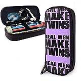 Yuanmeiju Real Men Make Twins Multifunction Canvas Leather Estuche Pen Bag Makeup Pouch,4X9X20 cm