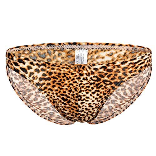 Auiyut Herren Tanga Low Rise Unterwasche der Manner hohe elastische Leopardenmuster Badehose Boxer Slips Shorts Bulge Beutel Unterhose