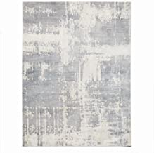 Abstract Modern Art Gray Silver Area Rug 8 x 10   Astral Room Size Faded Viscose