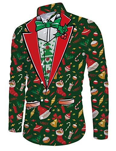 RAISEVERN Camisa de Navidad con Estampado de Punto Falso 3D Verde Camisa de Navidad para Hombre Camisas de Vestir...