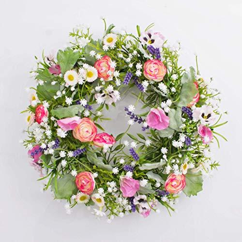 artplants.de Künstlicher Frühlingskranz Felicia, Stiefmütterchen, Ranunkeln, rosa - weiß, Ø 30cm - Kunst Kranz - Deko Kranz