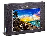 Ulmer Puzzleschmiede - Puzzle 'El sol de la tarde en Hawái': Puzzle de 1000 piezas - Motivo de paisaje atmosférico de puesta de sol sobre el mar
