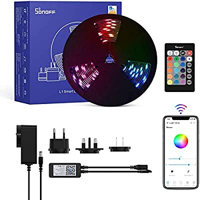 LED Strips Lights 2M,SONOFF Smart WiFi Dimmable Light Strip with Timer,16 Million Colours Brightness Adjustable,APP&24-Keys IR Remote Control,RGB 5050 Waterproof IP65,Works with Alexa & Google Home