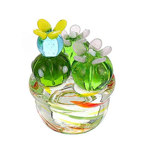 BESPORTBLE Ornamento de Cactus en Maceta de Vidrio Hecho a Mano Vintage...