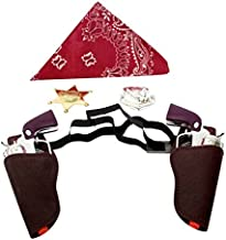 Imprints Plus Children's BC Western Cowboy Gun Set Brown and Chrome Colored Finish with Red Bandanna, and Silver and Gold Badge 1 of Each Item