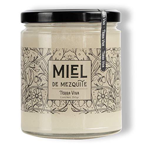 Miel de Abeja, Flor de Mezquite de 350 gramos, blanca con sabor herbal y fresco, ideal para untar y endulzar bebidas calientes