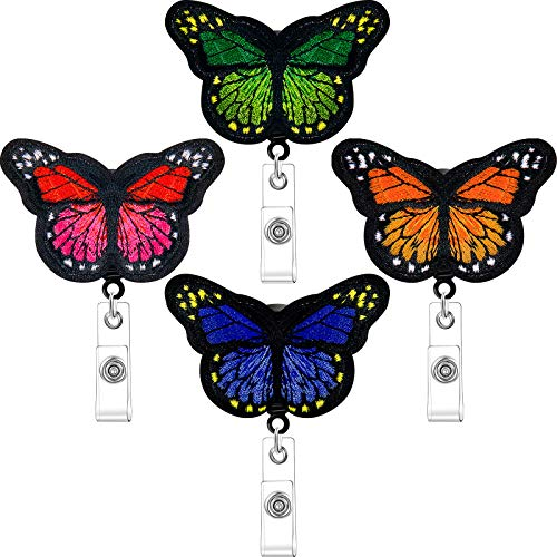 4 Pieces Butterfly Badge Reels Retractable Nurse Badge Holder Cute Butterfly ID Badge Reel with Alligator Clips for Nurses, Volunteers, Students, Teachers (Red, Orange, Blue, Green)