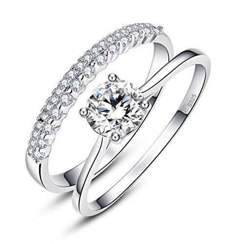 Bonlavie 0.9ct 925 Solid Sterling Silver White Cubic Zirconia Ring Set for Bride Wedding Band Engagement (P)