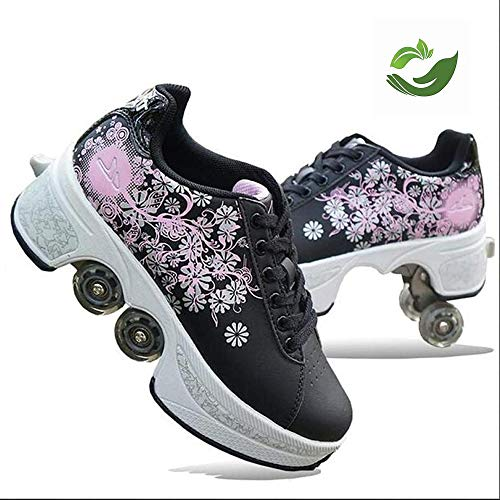 FLY FLU Roller Skates, Verformungs-Rollschuhe rutschfest Mit Automatischen Allrad-Wanderschuhen Unsichtbar Atmungsaktiv Weich - Für Outdoor-Sportrollschuhe,Black-35