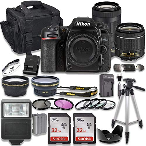 Nikon D7500 DSLR Camera with AF-P 18-55mm VR Lens + Nikon AF-P 70-300mm f/4.5-6.3G ED Lens + 2pc SanDisk 32GB Memory Cards + Accessory Kit