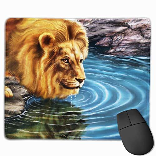 Alfombrilla de ratón para Ordenador portátil, PC, diseños de Personalidad, Alfombrilla de ratón para Juegos, 25X30 CM (Pintura de Agua de Bebida de león)