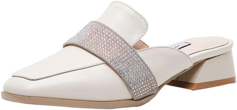 T-JULY New Genuine Leather Chunky Heels Mules Classics Women's Pumps Elegant Lady Women's shoes Plus Size