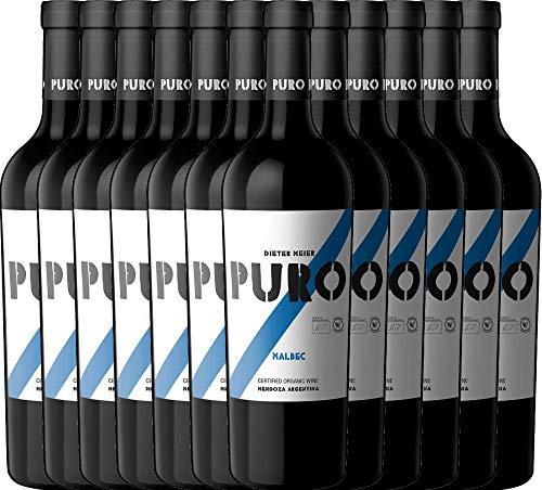 VINELLO 12er Weinpaket Rotwein - Puro Malbec 2019 - Dieter Meier mit VINELLO.weinausgießer | trockener Rotwein | argentinischer Biowein aus Mendoza | 12 x 0,75 Liter