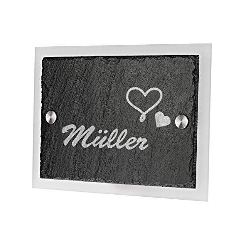 Ardoise plaque de porte avec gravure verre acrylique avec motif c?ur avec nom