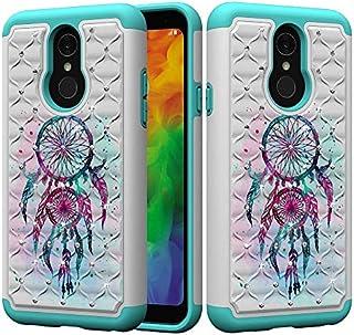 LG Q7 / LGのQ7のための電話ケース携帯アクセサリープラス1デュアルレイヤーアーマーディフェンダーヘビーデューティハイブリッドショック防水カバー(柄:3)で、花の蝶フクロウパターンブリンブリングリッターダイヤモンド2-5