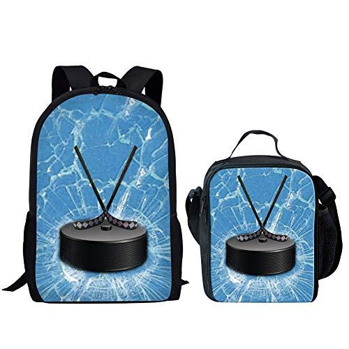 POLERO Eishockey Printed Outdoor Sports Nette Schulrucksack + Lunch Box (blau)