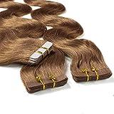 Hair2Heart 30 x 2.5g Extensiones adhesivas de pelo natural - 50cm, colore #12 miel rubia, corrugado