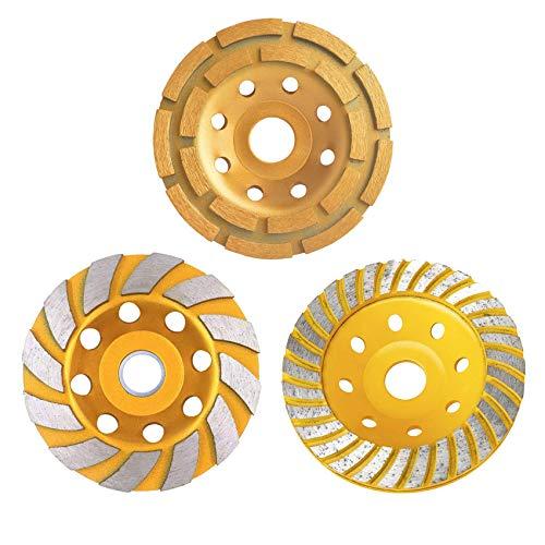 Concrete Grinding Wheel, (Set of 3, Diameter 4-1/2'', Bore 7⁄8'), Diamond Grinding Wheel for Concrete Grinder, Concrete Diamond Sanding Discs, Masonry Angle Grinding Wheel, Diamond Disc, Gold