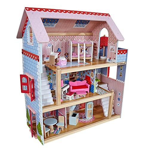 KidKraft 65054 Casa de muñecas de madera Chelsea Doll Cottage para muñecas de 12 cm con 16 accesorios incluidos y 3 niveles de juego