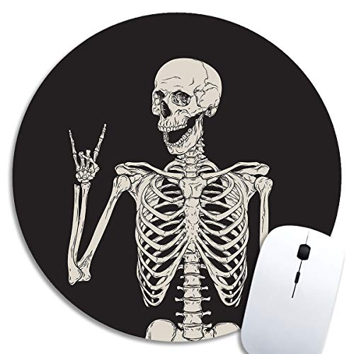 SHruizhuo Cute Gaming Mouse Pad Skull Human Skeleton, Desk Mousepad,Small Mouse Pads for Computers Laptop,Round Mouse Mat Cool Design