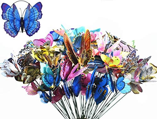 FENELY Butterfly Garden Decor Stakes Double Wing Waterproof 3D Garden Ornaments Outdoor Decorations product image