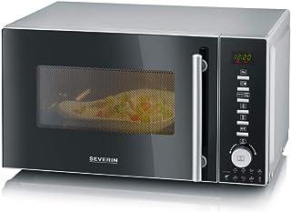 SEVERIN Four Micro-ondes Gril, Chaleur tournante 1 350W, 20L, 10 niveaux de puissance, Affichage numérique, Noir/Inox, MW ...