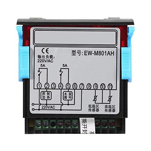 Controlador de Temperatura Solar, Keenso Controlador de Diferencia de Temperatura Digital con Sonda de Sensor para Calentador de Agua Solar EW-801AH AC 220V 5A