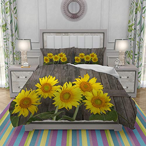 yiwangle Juegos de Fundas para edredon,Ropa de Cama,Helianthus Sunflowers Against Weathered Aged Fence Summer Garden Photo,Fibrae Xtrafina,Edredones y 2 Almohadas