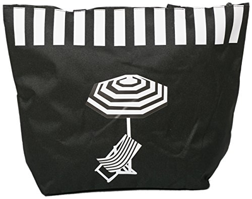 Canvas Beach Bag, features deckchair and parasol (Black)