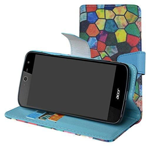 Mama Mouth Acer Liquid Zest Hülle, Brieftasche Schutzhülle Case Hülle mit Kartenfächer & Standfunktion für Acer Liquid Zest Smartphone,Stained Glass