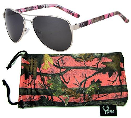 Hornz Camuflaje del Rosa polarizados Gafas de Aviador para Las Mujeres y Que Coinciden con Bolsa de Microfibra – Pequeña o Mediana Tamaño de la Cara - Marco Rosado de Camo - Lente Humo