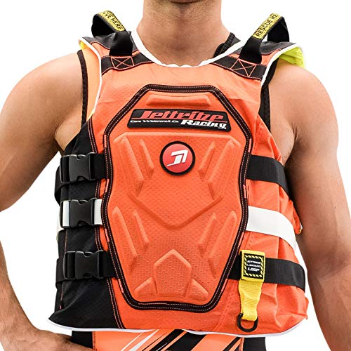 Jettribe Chest Impact Life Vest RS-18 Series | Comp Jacket | Customizable Back Plate | Side-Entry Jet Ski Vest (Neon Orange, S/M)