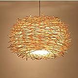 Plafoniera a LED Copertura intrecciata a mano Lampadario in rattan Paralume a nido d'ape in legno Lampada da soffitto in legno per bar, caffetteria, libreria, corridoio e soggiorno