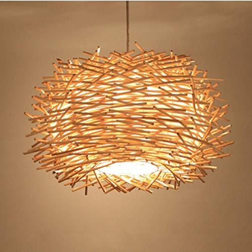 Lámpara de techo LED de 30 cm Lámpara de ratán tejida a mano Lámpara de techo de madera de nido de pájaro Lámpara de techo de madera para el bar, la cafetería
