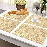 FloraGrantnan - Manteles individuales cuadrados para interiores y exteriores, diseño victoriano, color beige