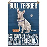 NEW Retro Mini Metal English Bull Terrier Dog Sayin Sign Hang Decoration 6.5x9cm
